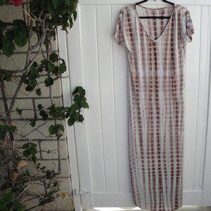 Tie-Dye Brown-White Boho Maxi V-Neck Dress Large